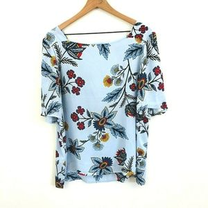 LOFT Floral Print Boat Neck Top XL